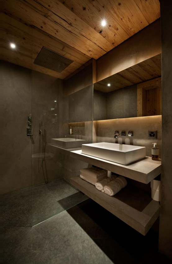 Neutral And Cozy Alps Chalet Interior In Rough Wood
