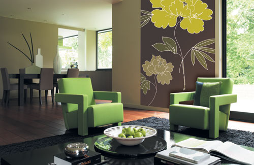 Neutral Living Room With Panoramic Colorful Fabric On A Wall