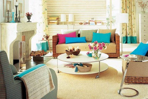 Neutral Living Room With Vibrant Accents