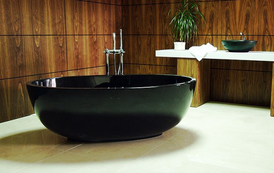 New Compact Black Freestanding Bath The Petit By Castello