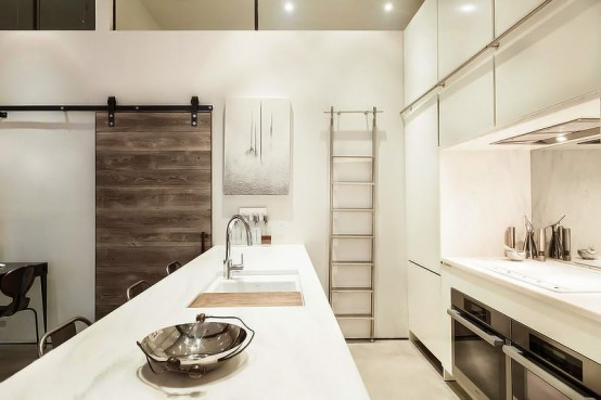New york loft design with classical greco roman touches for New york loft kitchen design