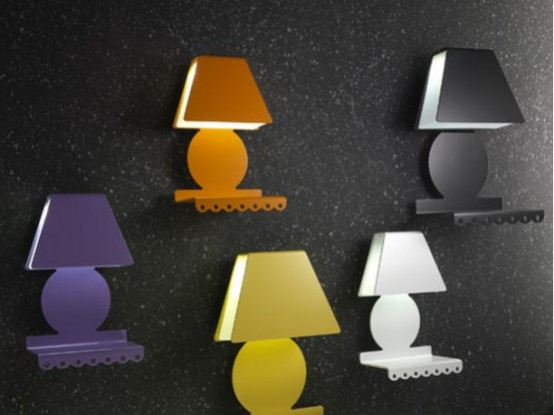 Colorful Nightstands With Lamp