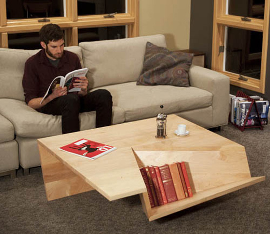 Not Ordinary Shaped Coffee Table With Book Storage