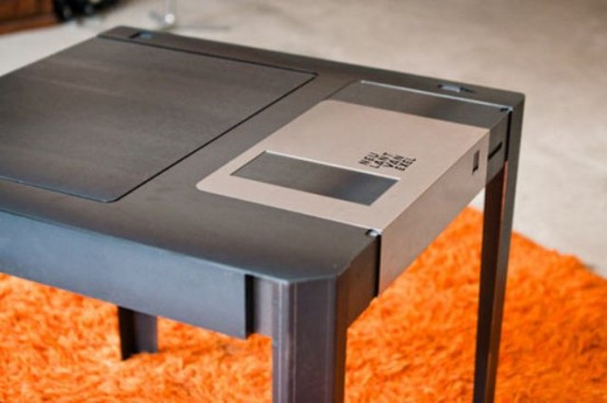 Nostalgic Floppy Disk Table With A Storage Compartment