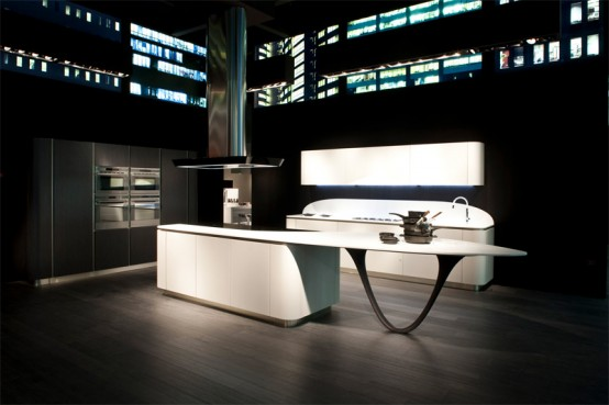 Futuristic Kitchen Design with Round Corners – Ola 20 by Snaidero
