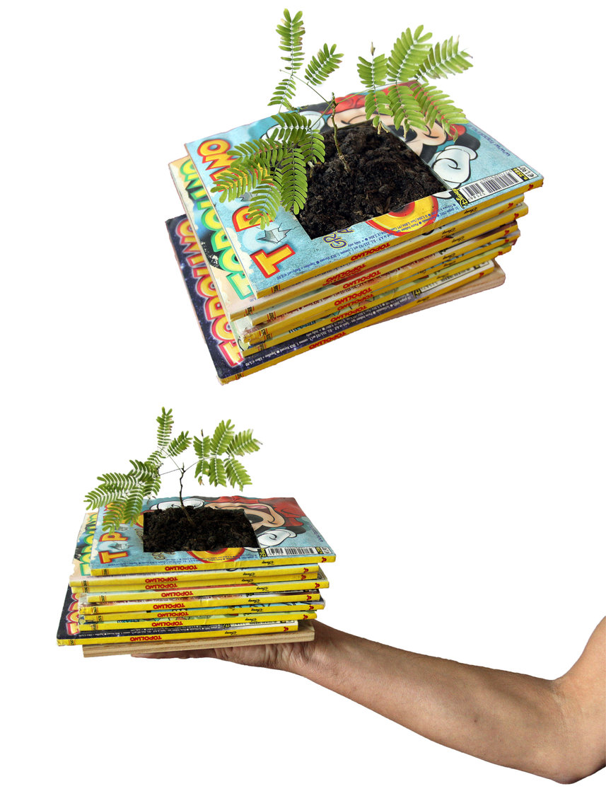 Decorative Planters Made Of Old Recycled Books Digsdigs