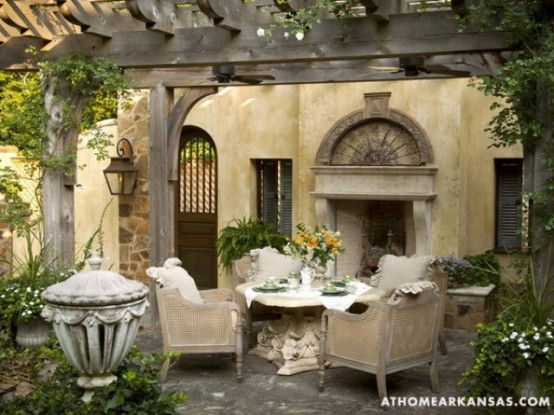 Old European Style Garden And Terrace