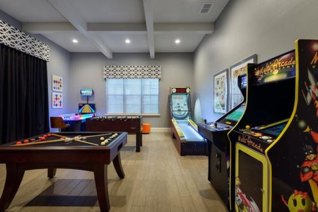 old-school basement game room