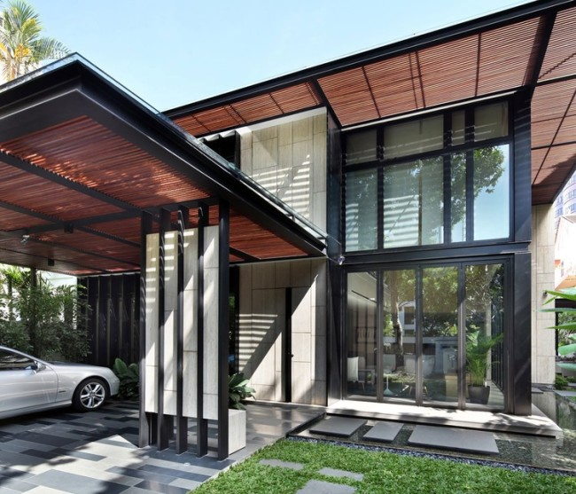 One tree hill residence with comfortable modern interiors for Contemporary carport design architecture