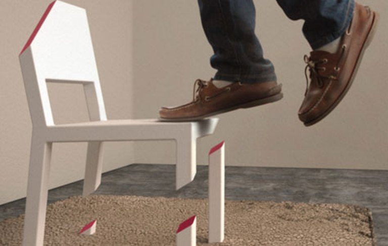 Optical Illusion Chair With 1 Whole Leg