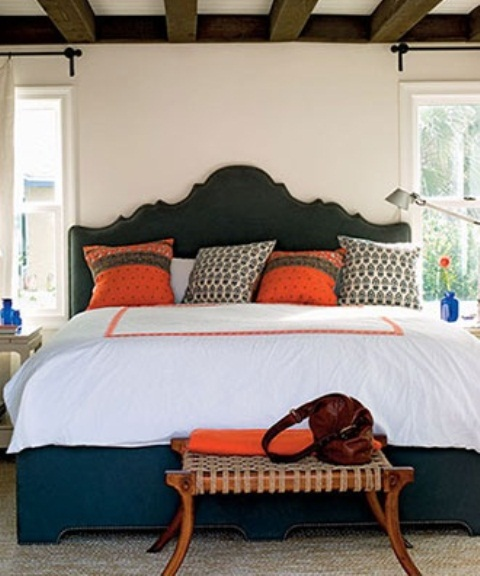 Awesome Orange Accents In Bedrooms