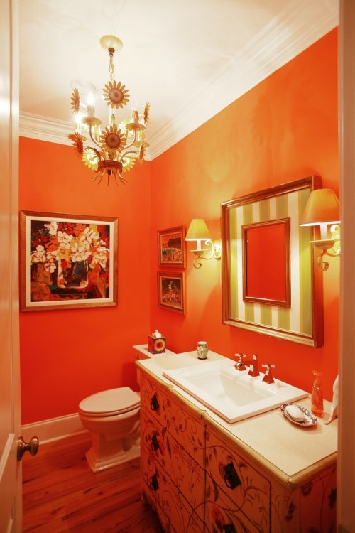 excellent orange bathroom floor | 50 Cool Orange Bathroom Design Ideas - DigsDigs