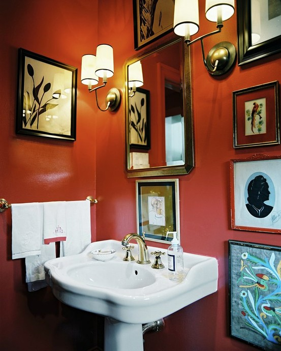 orange walls will make your powder room or bathroom bolder and brighter, this is a non-typical yet vivacious color