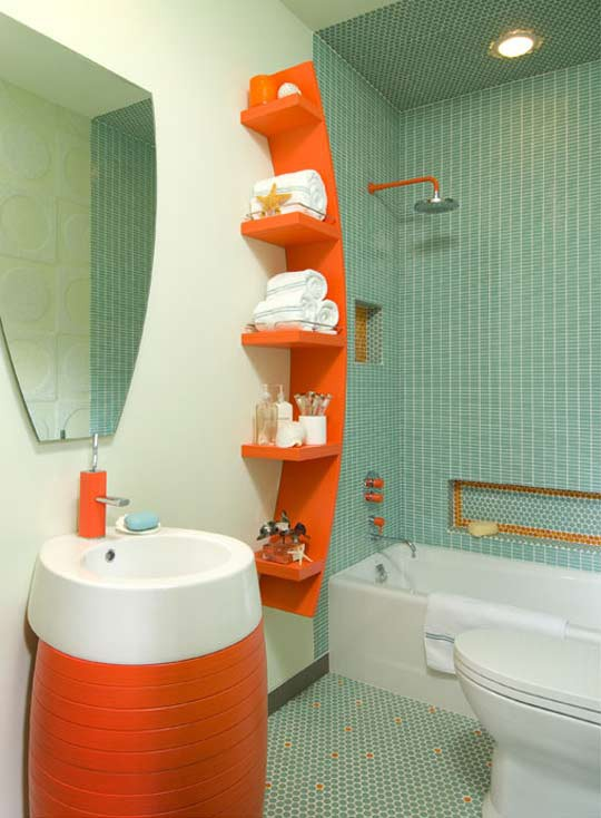 a light blue and white bathroom with bright orange touches - a catchy modern vanity and a curved shelf plus hardware