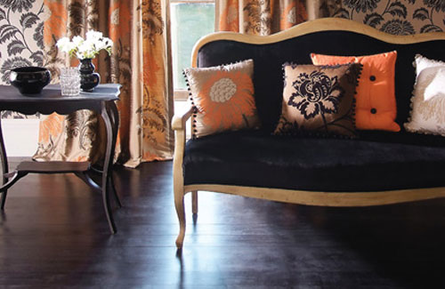 Orange Gold And Black Living Room