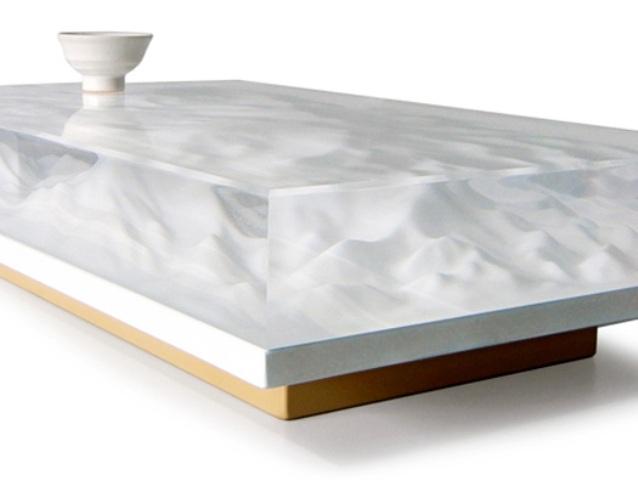 Oriental Landscape Sculpture Tea Table With A Philosopical Twist