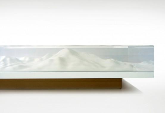 Oriental Landscape Sculpture Tea Table With A Philosophical Twist