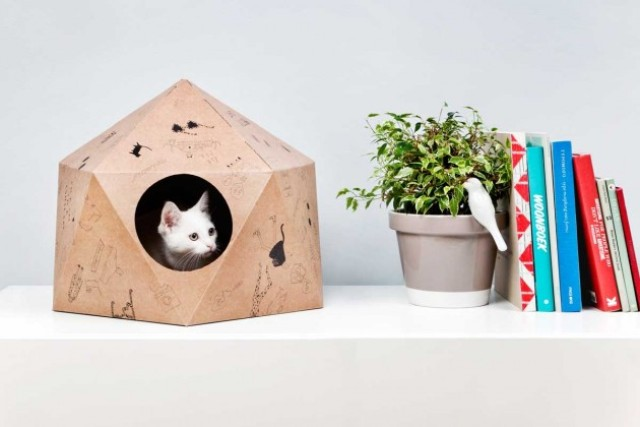 Original And Fun CatCube Nest From Cardboard