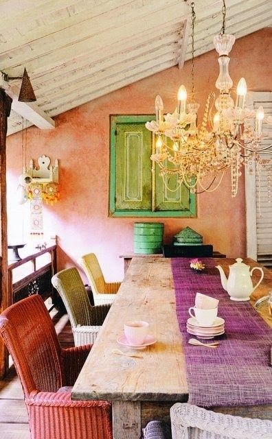 Vintage Wooden Chairs >> 58 Original Boho Chic Dining Room Designs - DigsDigs