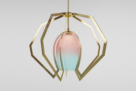 Original Brass And Glass Lamp In Tender Colors