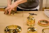 Original Brass And Glass Lamp In Tender Colors