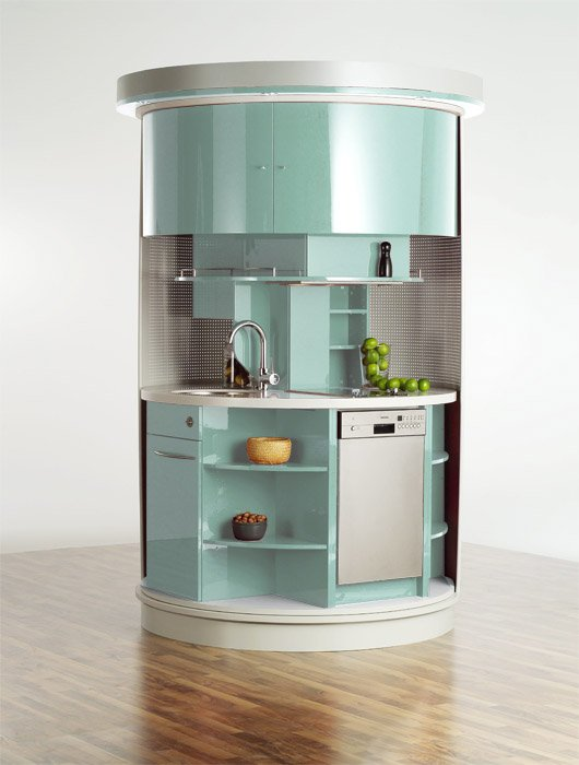 Very small kitchen which has everything needed circle for Compact kitchens for small spaces