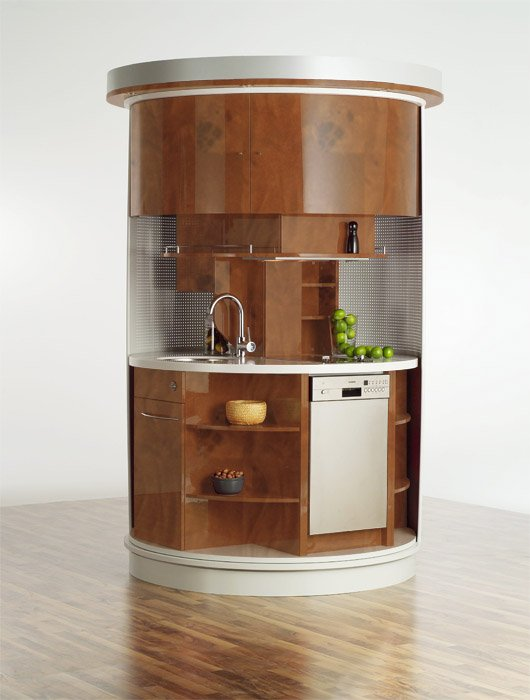 Very small kitchen which has everything needed circle kitchen digsdigs - Mini kitchen design pictures ...