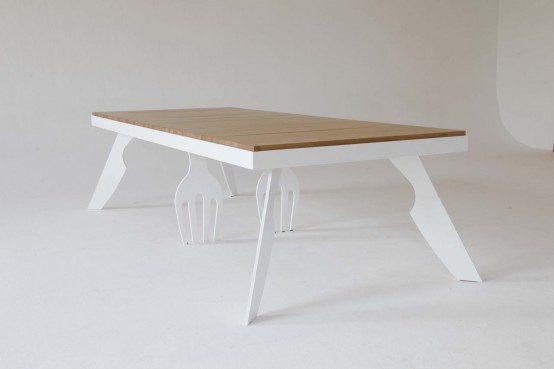 Original Dining Table With Fork And Knife Shaped Legs