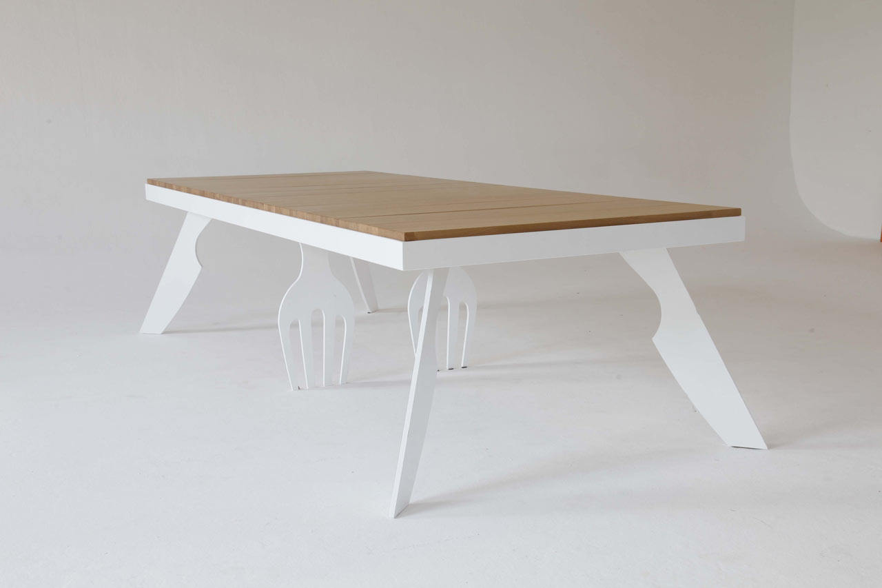 Original Dining Table With Fork- And Knife-Shaped Legs