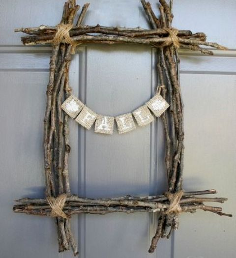 a square twig and stick wreath with a burlap bunting is a simple rustic decoration you can make yourself