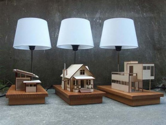 Original House-Lamp With Wooden Home Models