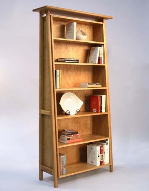 a light-colored wood ladder-style bookcase with shelves is a stylish idea that adds interest with its shape