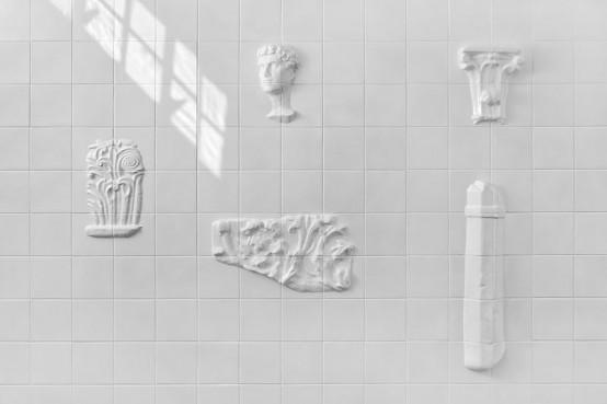 Original White Tiles Exhibiting Archeological Fragments