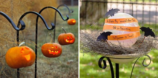 Hang a bunch of glowing jack-o-lanterns to surround your yard with moody light.