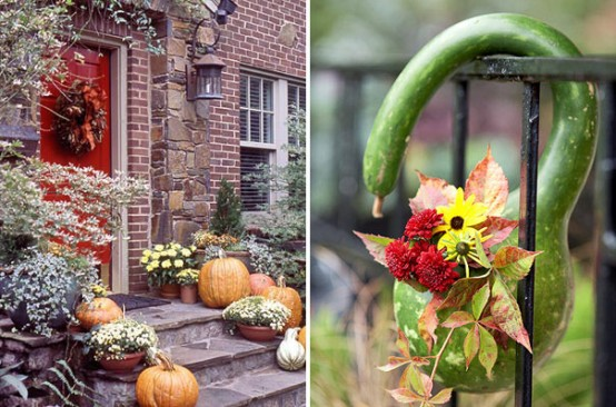 Too busy to decorate for Halloween? Just set a few un-carved pumpkins and fall blooms on your doorstep.