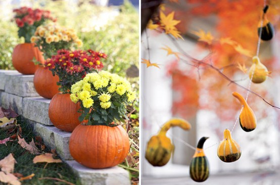 Pumpkin planters are quite easy to make and you can use them as decorations for the whole fall. Fall mums would look amazing in them.  Pumpkin garlands are awesome too!