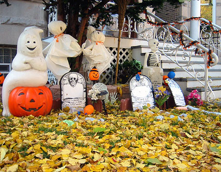 Transform your yard into a bone-chilling cemetery with your creativity and a bunch of cool DIY projects like tombstones, ghosts and jack-o-lanterns.