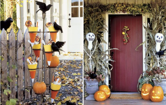 Framing front door with skeletal gourds is a great way to make a festive first impression.