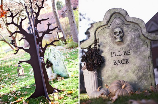 Inexpensive foam sheets could easily be turned into realistic-looking grave markers.