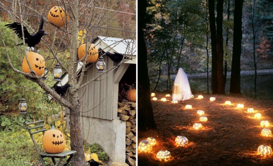 any tree that lost its leaves would be an amazing base for spooky halloween decorations - Decorating Outside For Halloween