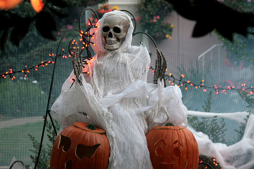 A life-size skeleton (from Pottery Barn) could greet your guests right on your front lawn.