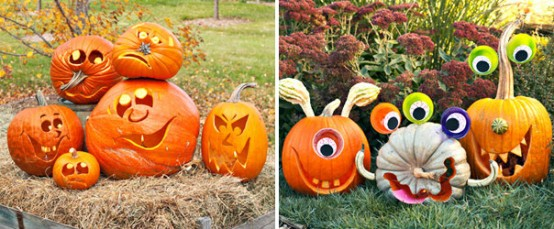 Craft cute monster and smiley pumpkins! You don't really need advanced pumpkin-carving skills for such project.