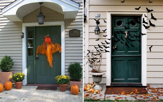 add felt bats to your front doors decor to give trick or treaters a