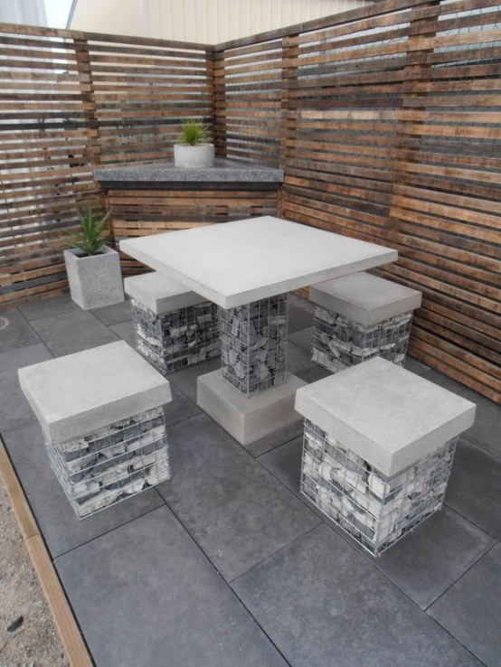 outdoor decor trend concrete furniture pieces - Concrete Tile Garden Decor