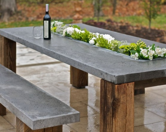Outdoor Decor Trend Concrete Furniture Pieces
