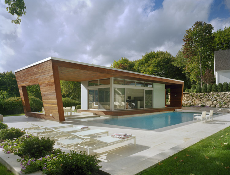 Outstanding swimming pool house design by hariri hariri for Small pool house with bathroom