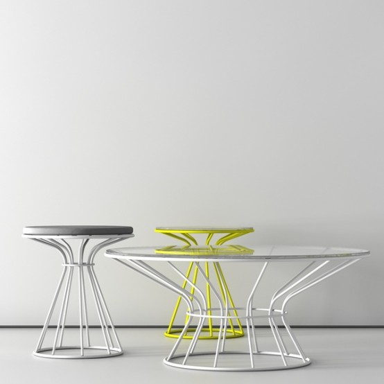 Coffee Tables and Stool with Restrained by Circle Painted Metal Structures