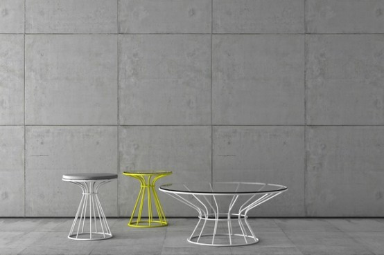 Painted Steel Coffee Tables And Stool
