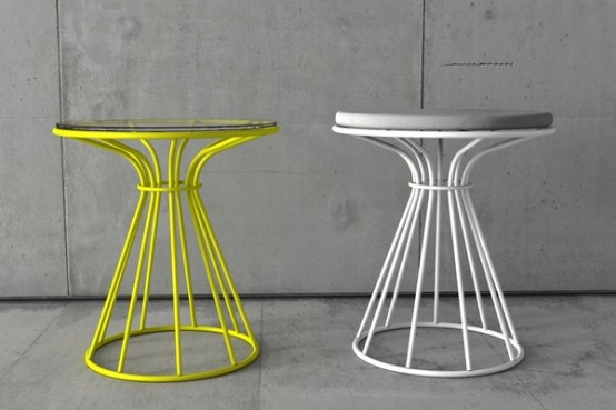 coffee tables and stool with restrained by circle painted metal structures digsdigs. Black Bedroom Furniture Sets. Home Design Ideas