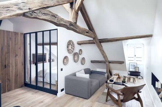 Paris Apartment Combining Rustic Charm And Modern Style